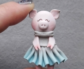 Брошка бижутерия Свинка