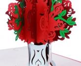 Открытка ваза с розами 3d