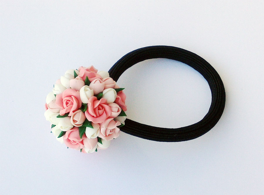 Резинки для волос своими руками с цветком