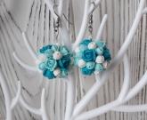 Серьги цветы Blue