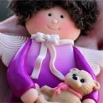 Куколка из глины с Мишкой