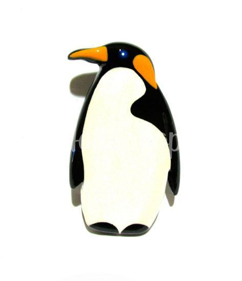 Брошь Пингвин из дерева