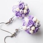 Серьги Purple roses