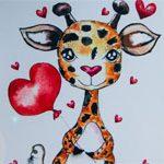 Детская открытка Жирафка