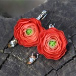 Серьги цветы Ранункулюс