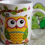 Чашка сова Желтая