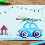 Новогодняя открытка Car