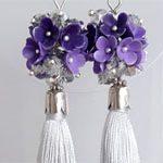 Cерьги кисточки Purple Gray