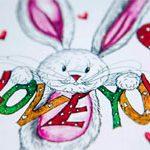 Женская открытка Зайка