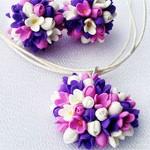 Серьги и кулон Цветочки