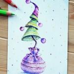 Новогодняя открытка Ёлка