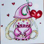 Валентинка открытка Зая