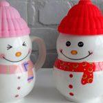 Чашки Снеговики пара