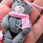 Мишка из глины Тедди Pink