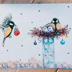 Хендмейд открытка Birds