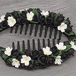 Заколка банан Black flowers