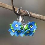 Серьги Незабудки цветы