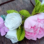 Ободок Пион-Розы-Гортензия