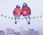 Новогодняя открытка Birds