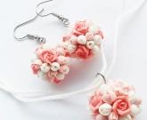 Серьги и кулон Pink roses