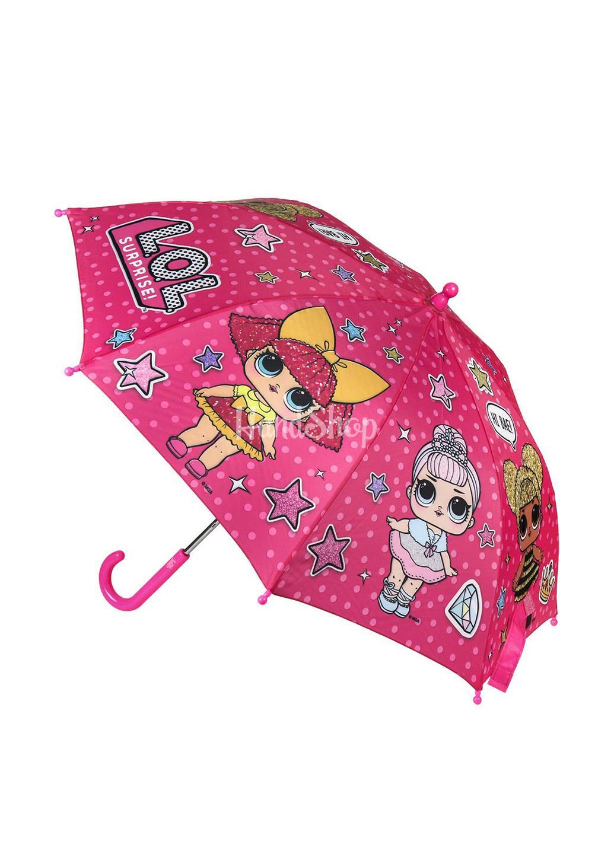 Детский зонт кукла лол малиновый