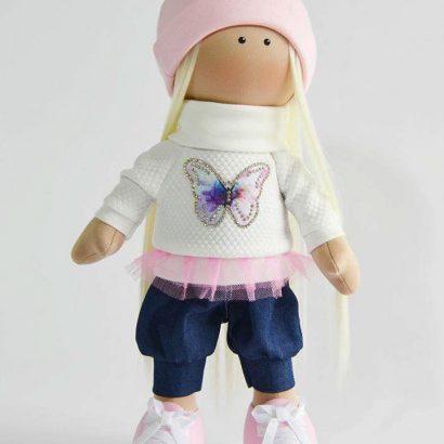 Текстильная кукла блондинка с длинными волосами