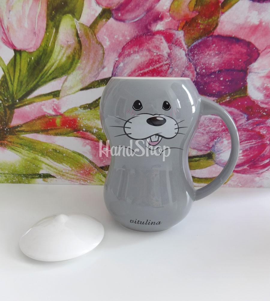 Большая серая чашка морской котик керамика