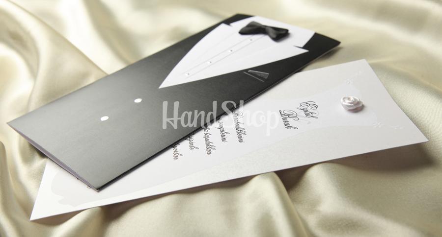 Черно-белая свадебная открытка смокинг