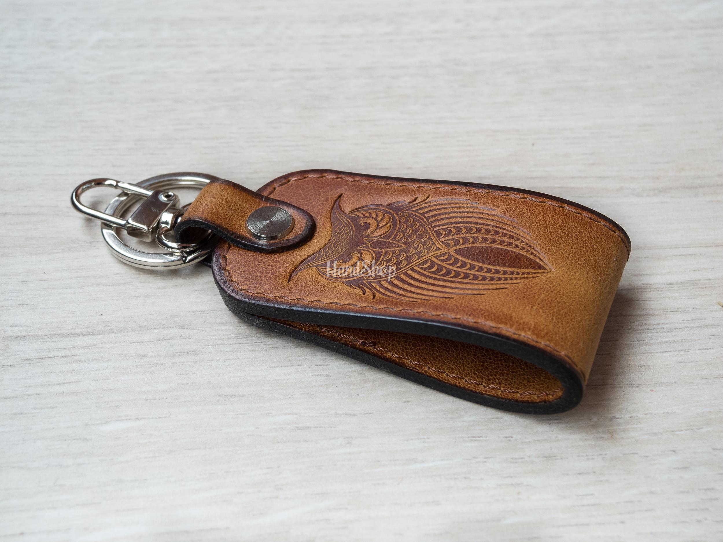 Брелок на ключи сова кожа