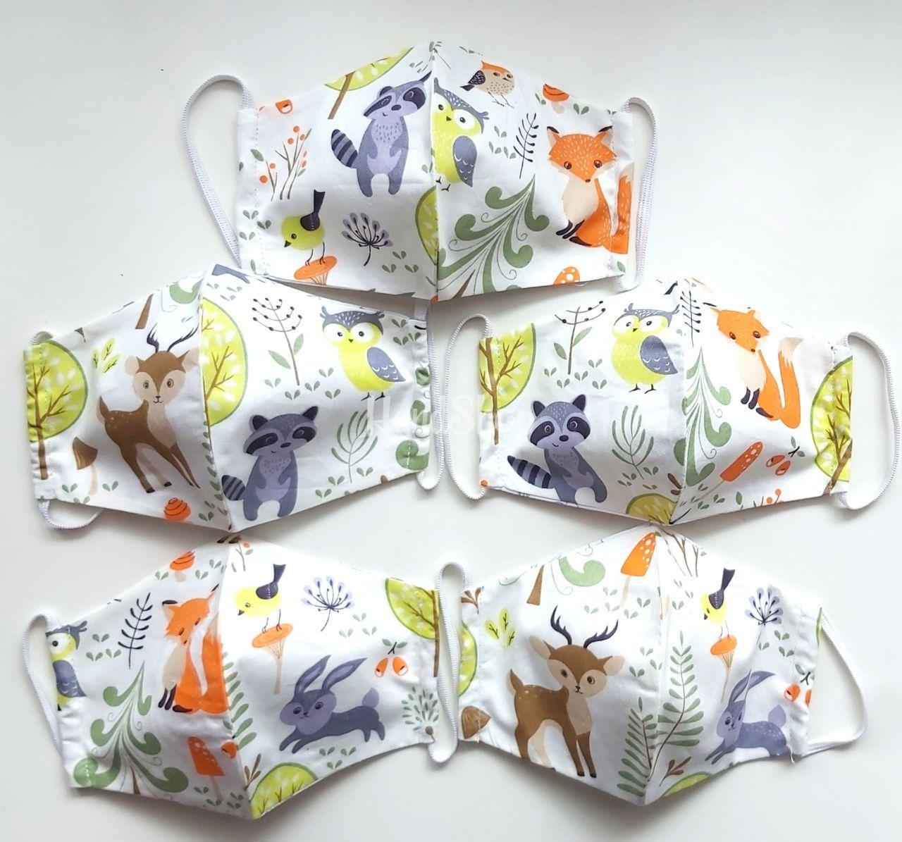 Защитная маска для детей с лесными зверятами