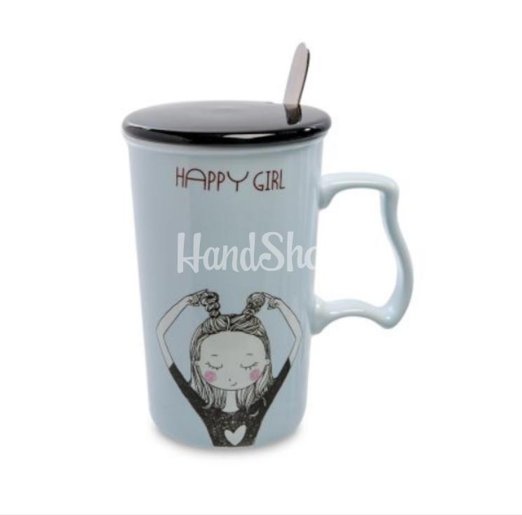 Чашка фарфор кружка с девочкой большая 375 мл