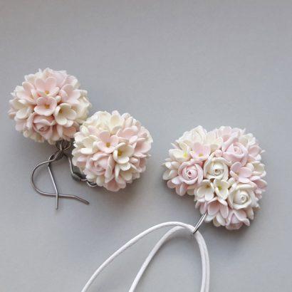 Комплект серьги и кулон кулон сердце цветочки