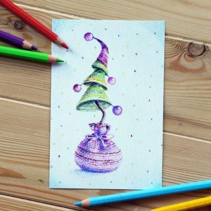 Красивая открытка с новым годом ёлка