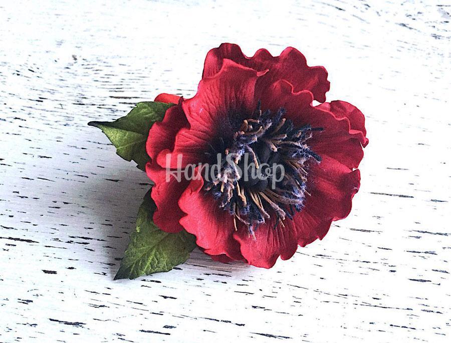 Резинка для волос из фоамирана красный мак