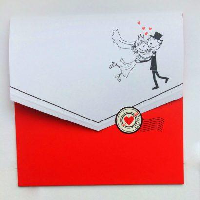 Свадебная открытка в виде почтового конверта с маркой