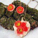 Кулон сердце и серьги Розы