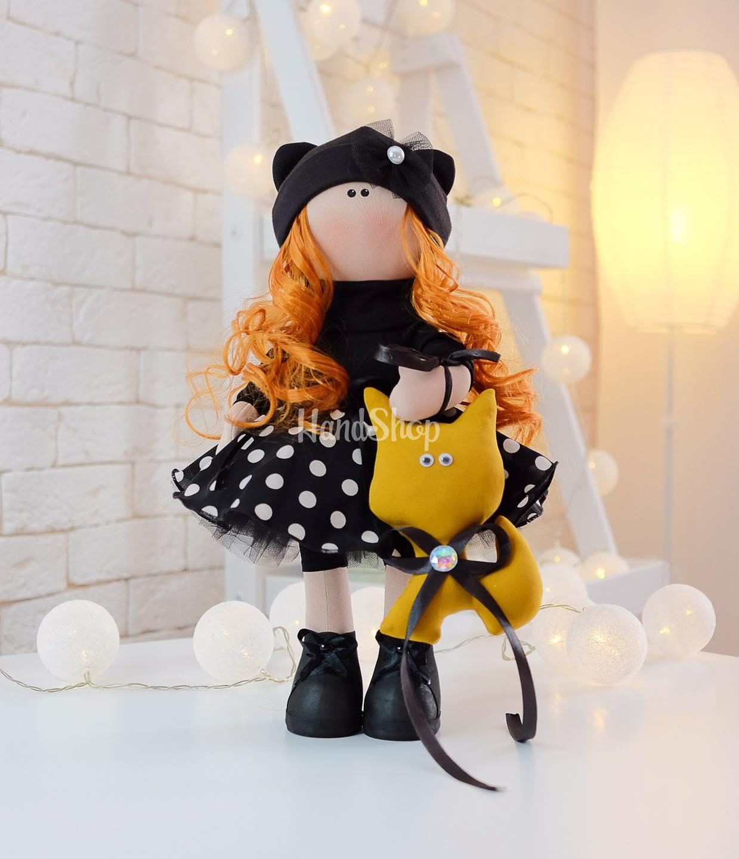 Интерьерная кукла рыжая кудрявая