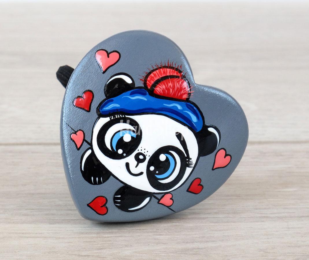 Резинка для волос детская сердечко панда