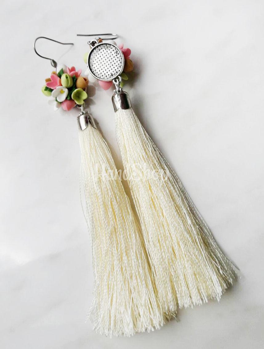 Серьги длинные кисточки цветы глина