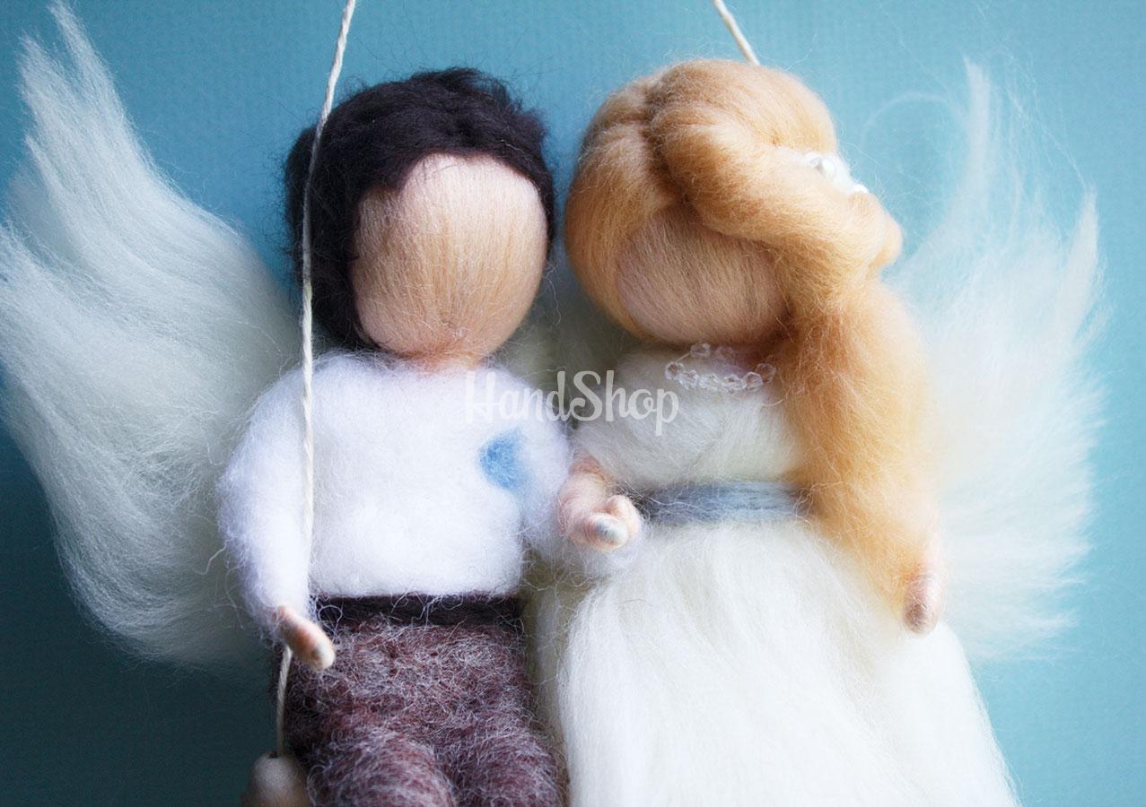 Свадебные ангелы куколки на качели