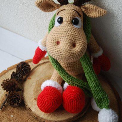 Большой тильда лось олень в новогоднем образе
