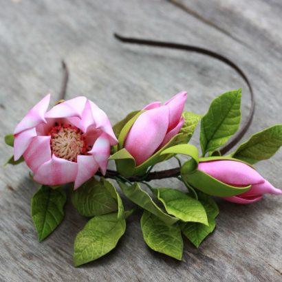 обруч для волос цветы магнолии с фоамирана