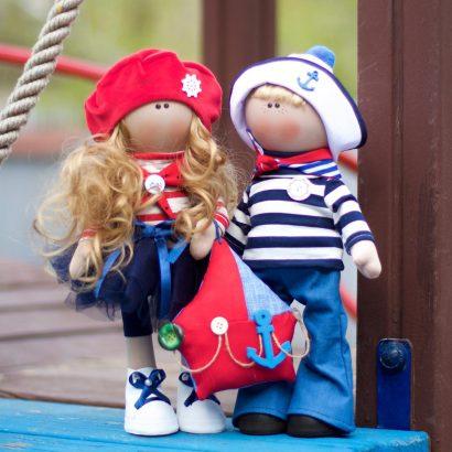 Парные текстильные куклы моряки