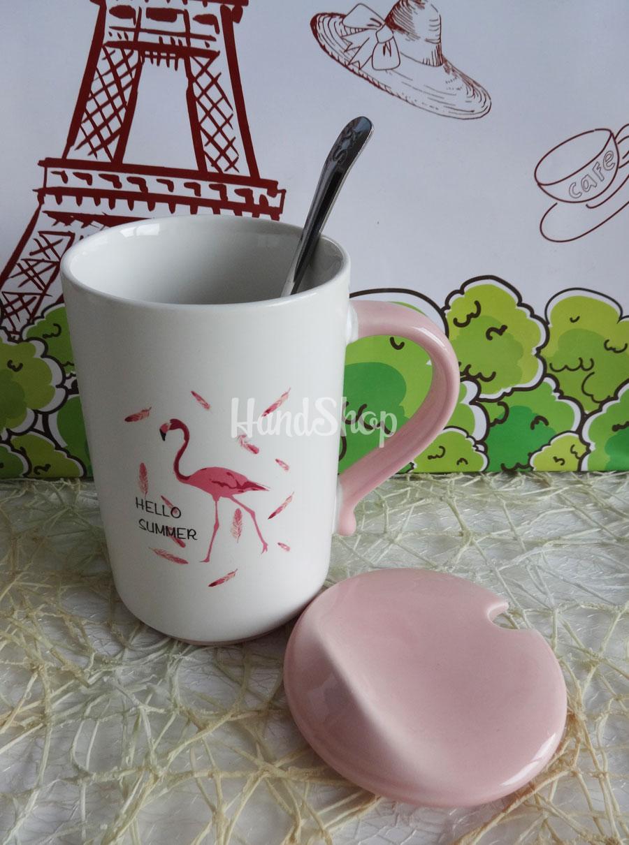Большая кружка керамическая розовый Фламинго