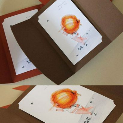 Открытка рисованная в плотном конверте