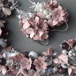 Браслет и Серьги пудра Цветы