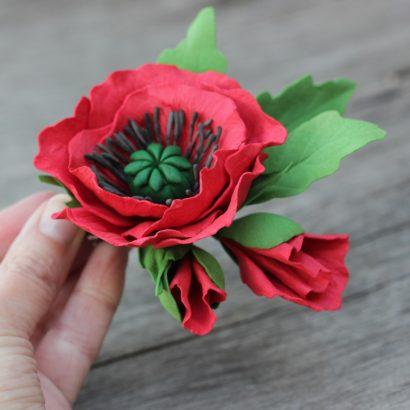 Женская брошка красные маки цветы