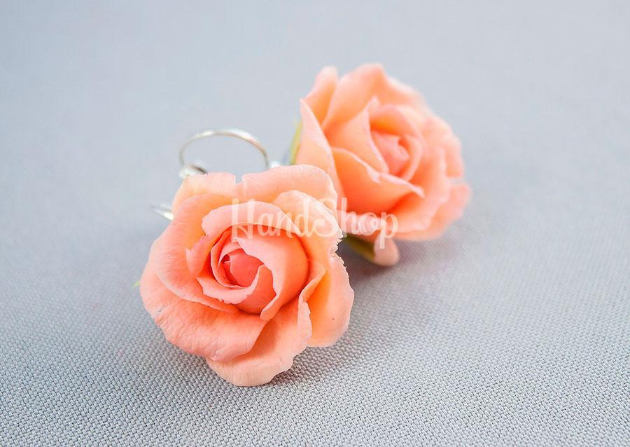 Серьги с холодного фарфора цветы розы
