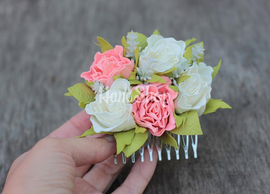 Гребень для волос из роз фоамиран