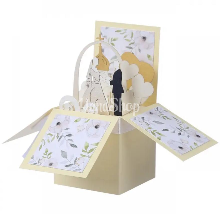 Свадебная открытка в коробочке своими руками